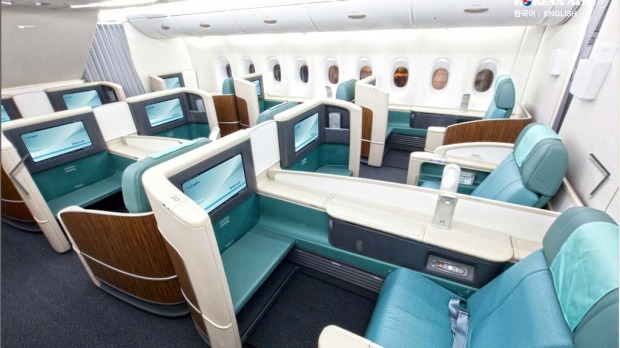 Business class on board a Korean Air A380. Korean Air has installed the smallest number of seats on its superjumbos, compared with other airlines, with just 407 in total.