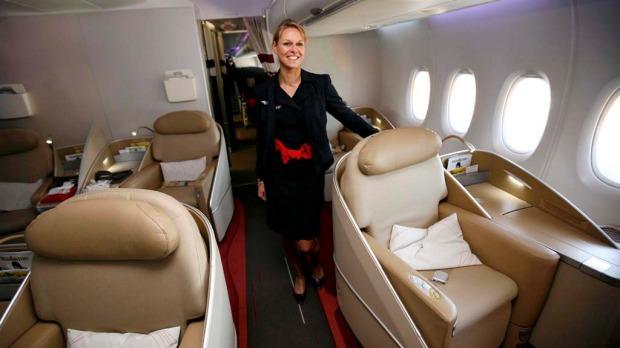 An Air France flight attendant in the first class cabin of the airlines first Airbus A380.