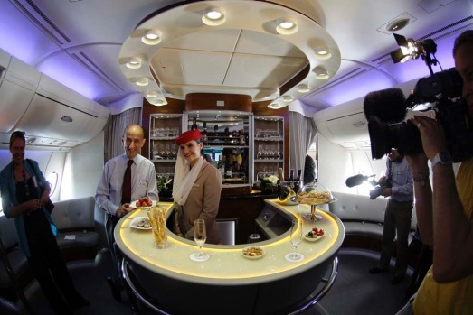 The first class bar on board an Emirates A380.