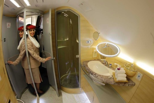 Naked at 30,000 feet ... Emirates became the first airline to offer showers in the sky after installing them in the ...