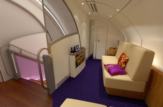 The first class bar and lounge on board the Thai Airways A380.