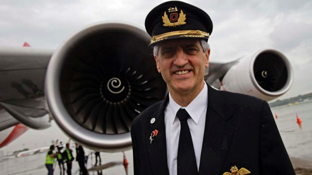Qantas pilot Captain Richard Champion de Crespigny. Captain Crespigny was in command of flight QF32 when one of the A380's engine's exploded shortly after take-off from Singapore. He later wrote a book about the experience.