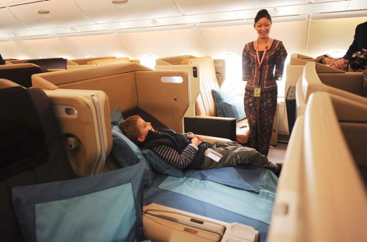 Business class on board a Singapore Airlines A380.