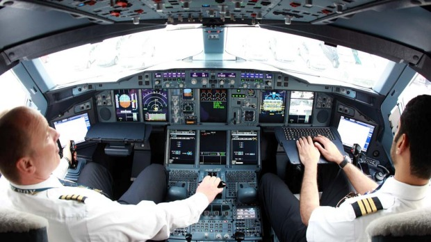 The flight deck of the Emirates Airbus A380.
