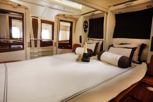 Singapore Airlines' first class suites on the A380 allow couples to turn their seats into a double bed.