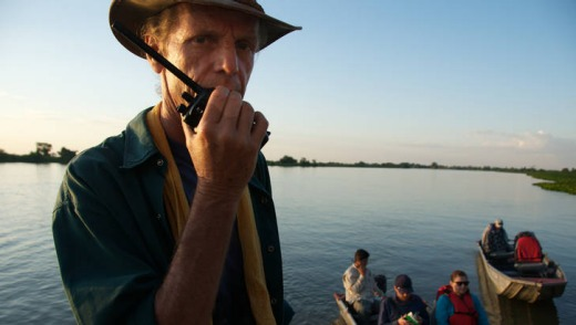 Panatal conservationist Andre Von Thuronyi on the Paraguary River.