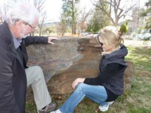 Dr Doug Finlayson and Kirsty Guster of Acton Walkways check out the 2.7 billion year old stromatolite near the National ...