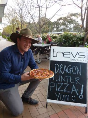 Dragon Hunter, Tim McGrath with the pizza named in his honour