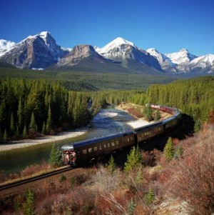 The Royal Canadian Pacific Express on Morants Curve, near Lake Louise.