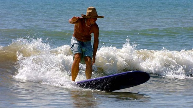 Rush hour ... surfing at Cocoa Beach, Florida.