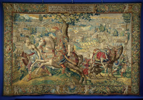 ''The liberation of the Portuguese fortress Diu'', after 1557 (?), tapestry.