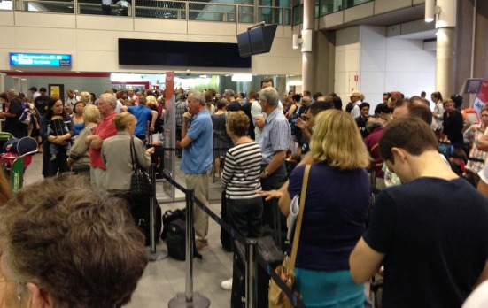 Queues were long at Brisbane Airport.