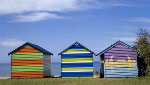 Beach huts at Dromana on the Mornington Peninsula.