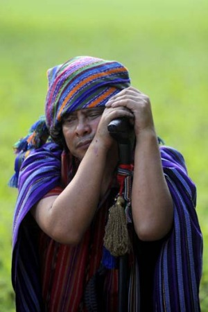 A Mayan shaman takes part in a ritual at the Quirigua archaeological site, 210 km north of Guatemala City. Ceremonies ...