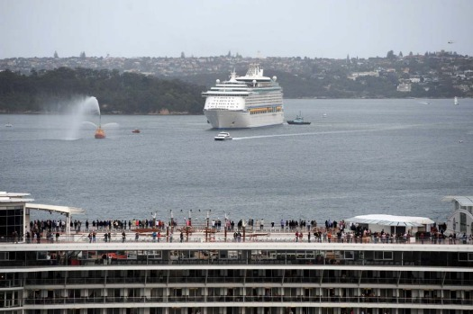 Voyager of the Seas approaches Celebrity Millenium in Sydney Harbour.