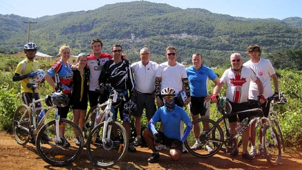 A clearer view ... Jared Crouch, third from right, with cyclists in Burma.