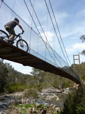 One of three new suspension bridges spanning the Thredbo River