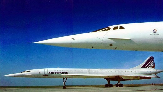 Today the Concorde, looking tiny next to most of its modern cousins, survives only as a museum exhibit.