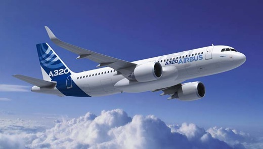 The Airbus A320neo, the plane maker's revamped version of its best-selling aircraft.