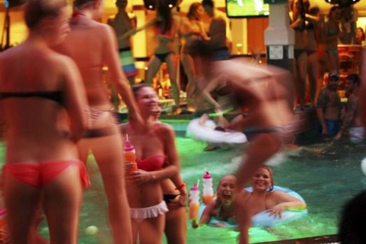 Schoolies swim, dance and drink at the Bounty Hotel, Kuta.