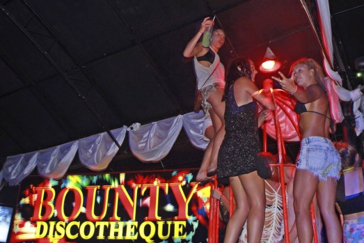Running wild in the Bounty Nightclub during Schoolies, Bali.