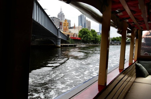 A view of Melborune from the World Trade Centre taxi service on the Yarra.