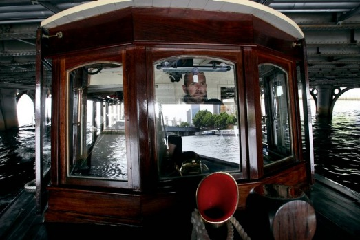 World Trade Centre taxi service on the Yarra.  Hamish Turner at the wheel of 'Grower'.