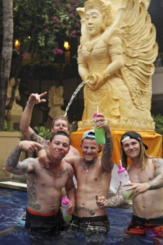 Shane Goodhew 20, Joshua 22, Ryan 22, Ian 20 ?Toolies? enjoying partying with schoolies at poolside at the Bounty Hotel, ...