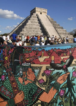 The pyramid of Chichen Itza.