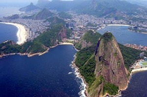 Aerial view showing the beach of Copacabana (L) and the Sugar Loaf hill in Rio de Janeiro, Brazil