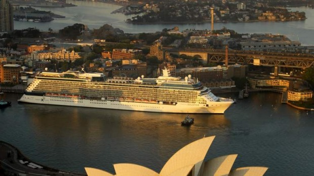 The Celebrity Solstice docks at Circular Quay in Sydney. December 9, 2012.