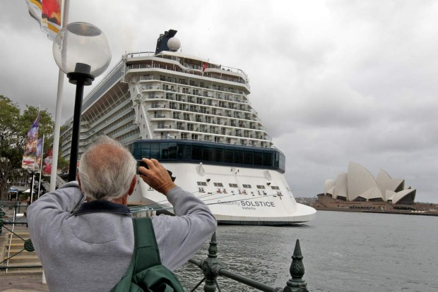 The Celebrity Solstice docked in Sydney.