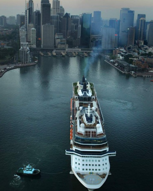 The Celebrity Solstice docks at Circular Quay in Sydney.