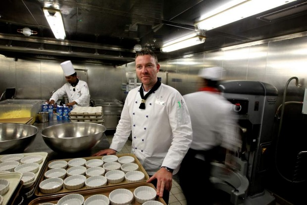 Robert Sauer, Executive Chef in the Galley onboard the Celebrity Solstice.