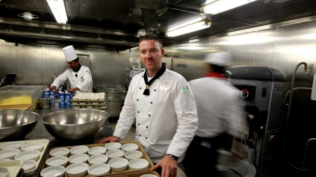 Robert Sauer, Executive Chef in the Galley onboard the Celebrity Solstice. December 11, 2012.