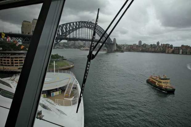 On the bridge of the Celebrity Solstice.