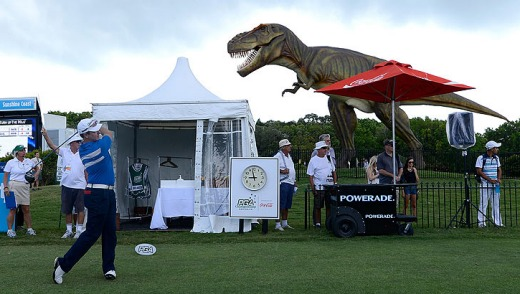 Jeff the dinosaur overseeing proceedings at the 2012 PGA Championship at Coolum.