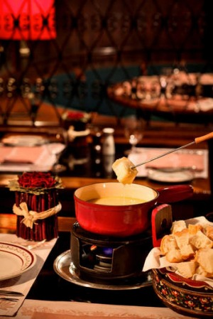 A fondue at the Chesa Swiss restaurant.