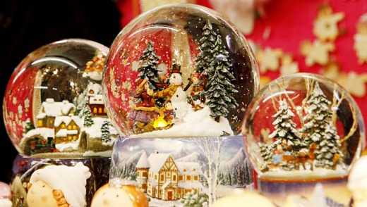 Snowglobes at Christmas market in Vienna.