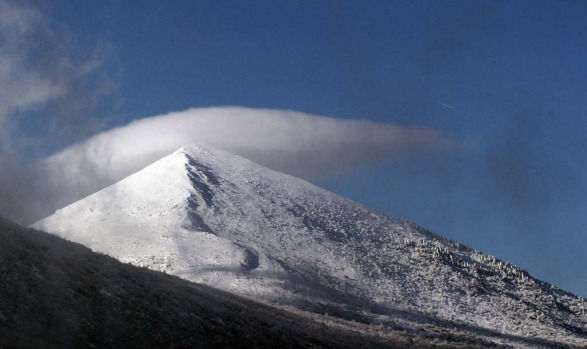 The pyramid-shaped Siljak peak in the Serbian mountain of Rtanj on December 20, 2012. Visitors were flocking to the ...