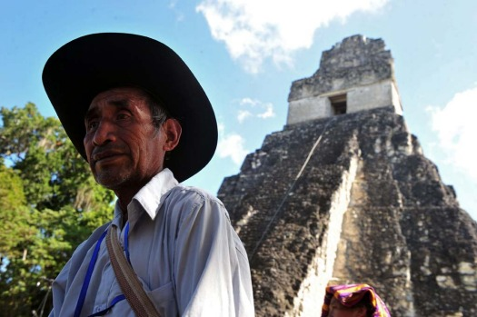 A Guatemalan Maya native visits Tikal archaeological site in Peten departament 560 km north of Guatemala city on ...