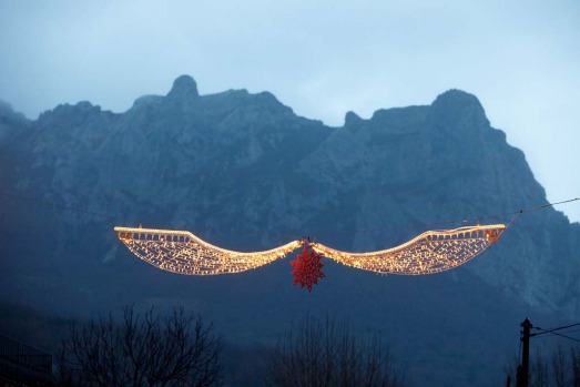 Decorations at dusk in Bugarath, a small village in the foothills of the Pyrenees on December 20, 2012 in Bugarach, ...