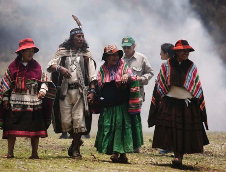 Bolivian indigenous people are pictured on Sun island in Lake Titicaca, some 160 km (99 miles) northwest of La Paz ...