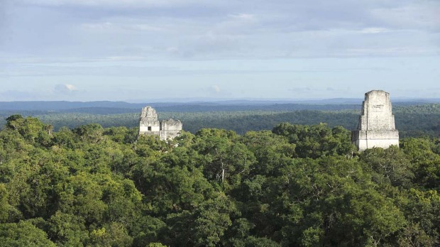 Mayan temples at the Tikal archaeological site in Peten departament, 560 kms north of Guatemala City, on December 19, 2012. Ceremonies will be held here to celebrate the end of the Mayan cycle known as Bak'tun 13 and the start of the new Maya Era on December 21.