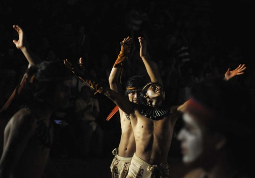 Honduran Ch'orti' of Mayan descent (rear) celebrate a point during a Mayan ball game against Guatemalan Quirigua in ...