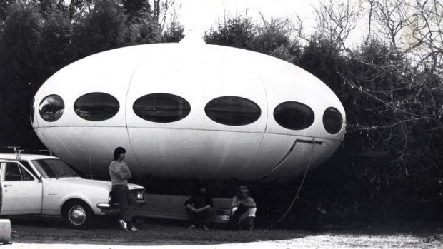 John 'Cooka' Campbell and his mates with the UFO that adorned their backyard in 1974.