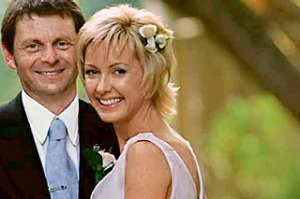 On a promise ... Deborah Knight and husband on their wedding day.