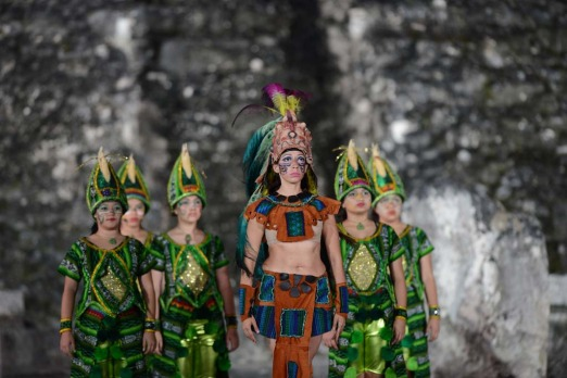 A folkloric group performs during celebrations marking the end of the Mayan age  at the Tikal archaeological site, 560 ...