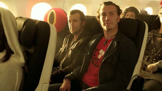 Royd Tolkien (right) in Air New Zealand's Hobbit-themed safety video.