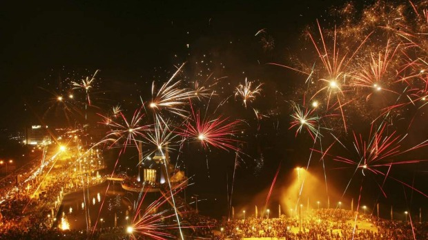 Fireworks explode above a floating mosque during New Year's Eve celebrations at Losari beach in Makassar, Indonesia's South Sulawesi province December 31, 2012.  Photo by Reuters